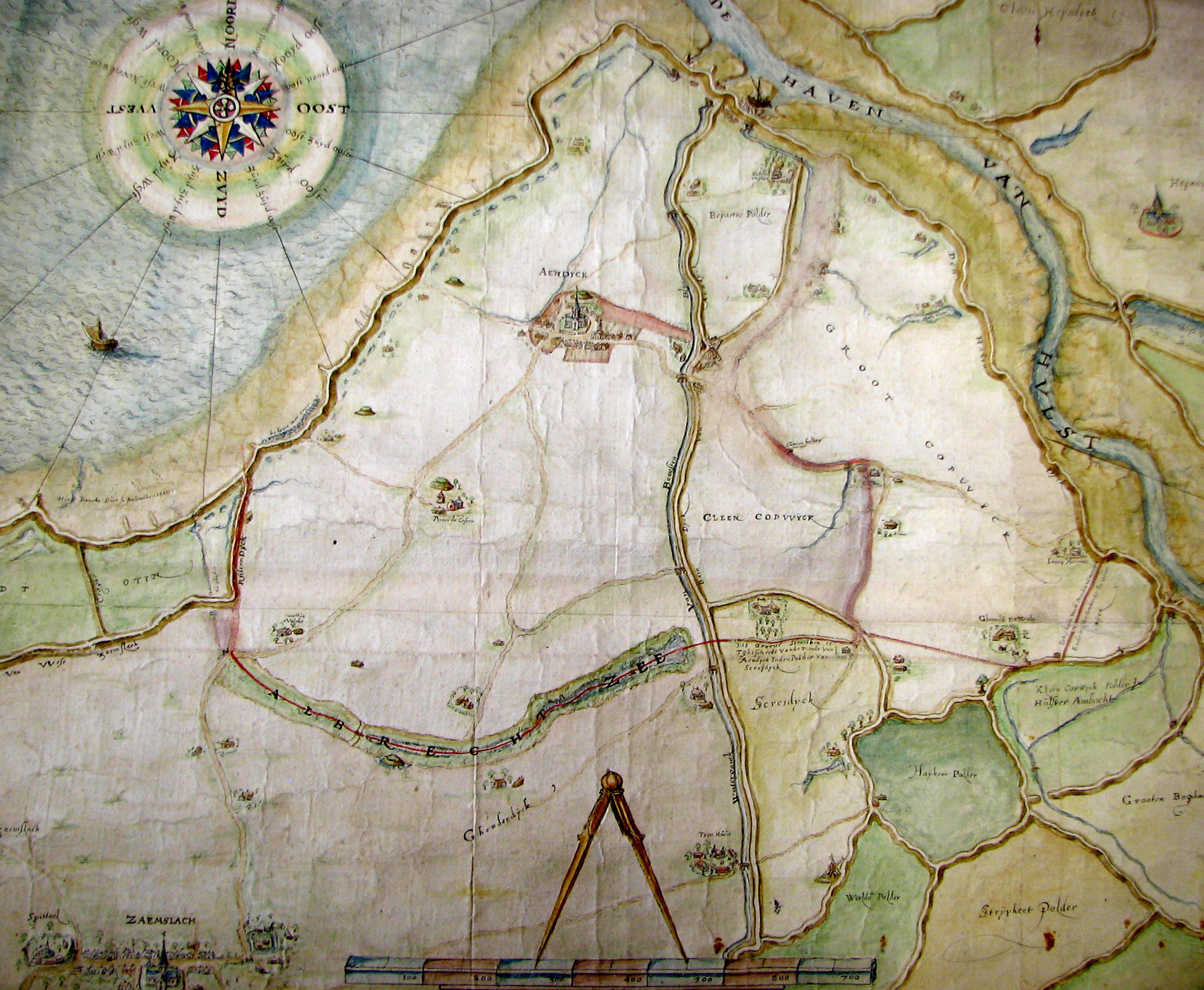 Aendijcke en omgeving op de kaart van François Horenbault (1569), waarop de precaire ligging ten opzichte van de kustlijn duidelijk wordt weergegeven (figuur Rijksarchief Gent, Kaarten en Plans, nr. 2647).art 8).