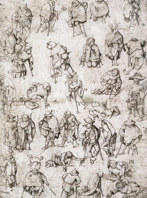 Pentekening Bedelaars en kreupelen van (een navolger van) Jheronimus Bosch uit 1530-1540 © Albertina, Wenen