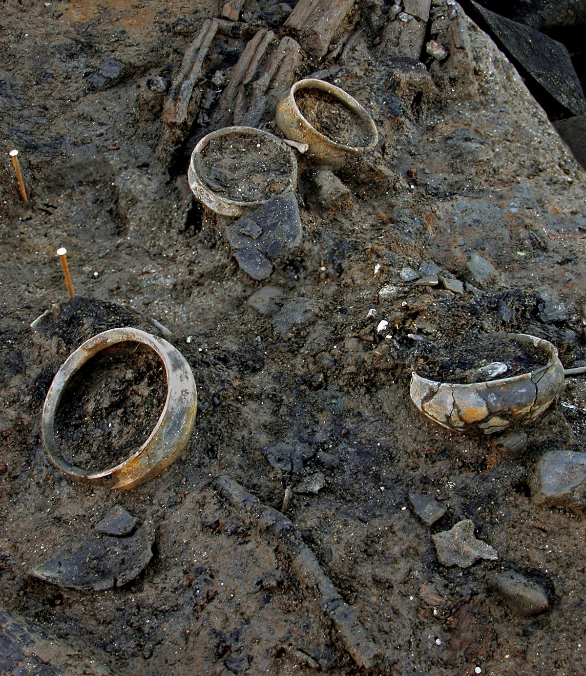 Overzicht van enkele volledige potten met oorspronkelijke inhoud, die achtergelaten zijn door de brand © Cambridge Archaeological Unit