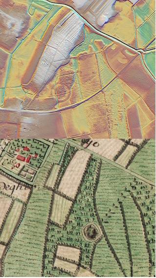 Ongekende ronde structuur in Assebroek. Op de Ferrariskaart staat op deze plaats een heuvel met gracht getekend. Gaat het over een structuur van voor die datum (1777)? Of heeft het te maken met de oude spoorweg die er vlak langs loopt? © foto en DHM Informatie Vlaanderen, visualisaties DHM W.Gheyle, UGent