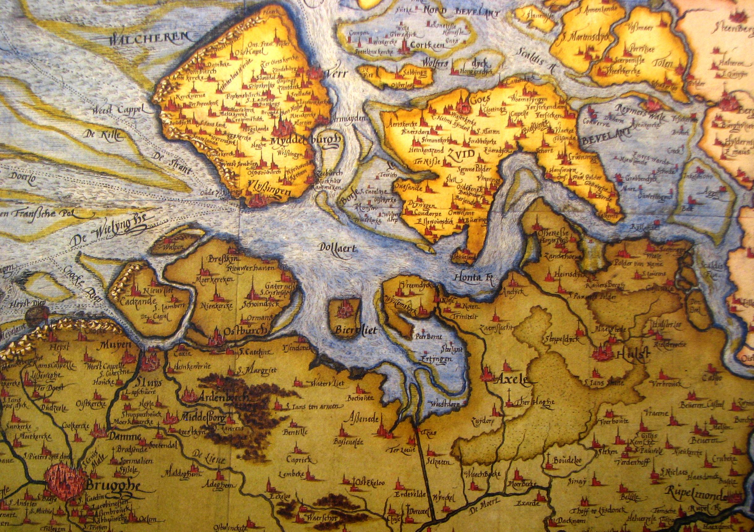 Kaart van Christian Sgrooten met weergave van Noord-Vlaanderen en het zuiden van Zeeland tussen 1545 en 1547 (figuur Meurer 2007, kaart 8).